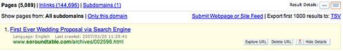 Yahoo Site Explorer Delete URL