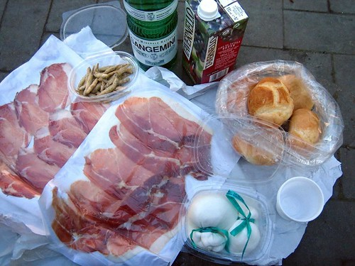 Our picnic lunch in Andria, the home of Burrata