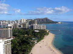 View of Diamond Head and Waikiki Beach (garyhymes) Tags: ocean sky beach volcano hawaii view pacific waikiki hilton palmtrees diamondhead honolulu sheraton hiltonhawaiianvillage rainbowtower