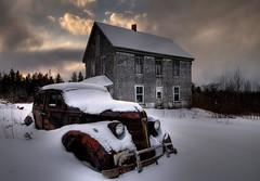 37 Pontiac (iJohn) Tags: old winter white house snow cold abandoned car frozen antique pontiac hauntedhouse abigfave subtlehdr1 37pontiac