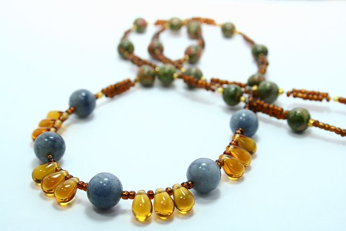 "sky quartz, teardrop amber and unakite 26"" ~FOR SALE~"