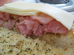 layers of ham and swiss