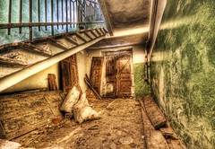 The Front Door, facing the KGB (Stuck in Customs) Tags: stairs photography nikon photographer apartment d2x ruin ukraine kharkov destroyed hdr kgb highquality d2xs stuckincustoms treyratcliff focuspocus2