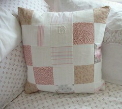 Close up of patchwork pillow