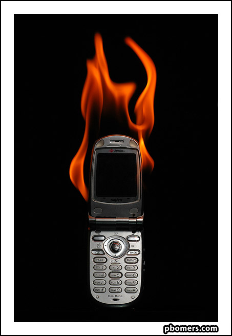 cell phone on fire