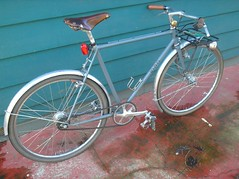 Gets a lot of use in the rain (mapcycles) Tags: bicycle rack commuter nexus dynamo handbuilt lugged porteur 650b mapcycles