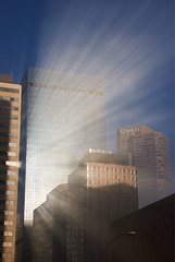 beaming (skypeople) Tags: reflection fog buildings wow topf50 downtown 500v20f topc50 denver lightshadow crepuscularrays notphotoshop supershot cotcpersonalfavorite twtmeblogged impressedbeauty 55517thstreet