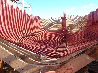 Wooden boat buliding in Essaourira