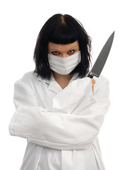 The doctor will see you now... (Rune T) Tags: portrait white girl scary eyes threatening knife butcher doctor mad whiteonwhite surgeon pinkham