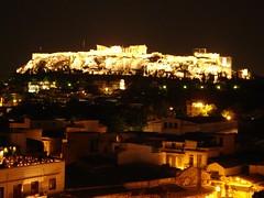 Panorama Acropolis pada waktu malam, Athens, Greece