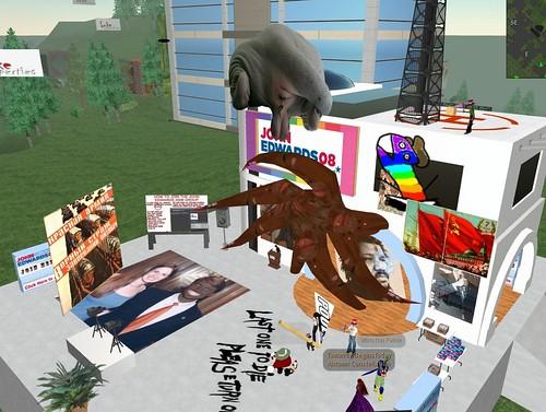 John Edwards Second Life HQ vandalized