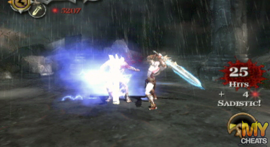 Stunned by Cronos' Rage, Zeus is unable to counterattack, allowing Kratos an