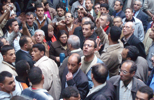 Kefaya protestors chant against Mubarak