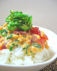 maguro-natto don (aloalo*) Tags: red food green japan dish rice egg bowl onion okra tuna natto donburi maguro