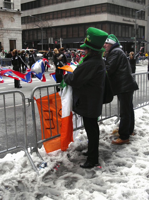 Saint Patrick's Day Parade-goers and slush
