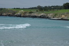 Waves and Golf (cwgoodroe) Tags: ocean california bridge blue sea green beach grass sunshine northerncalifornia stone digital lens relax bay monterey moss spring sand san francisco rocks surf day waves pentax crystal salt lion bluewater bridges sunny sealife cliffs fisheye area carmel seals romantic sealion northern relaxed ist otters saltwater hotday pentaxist stonebridge alge crystalblue