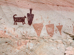 A Boy and His Dog (bclee) Tags: dog toes style canyon curly barrier horseshoe tailed rockart bcs pictograph nikoncoolscanived bogley