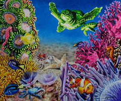 Under the Sea - Coloured Pencil Drawing (beautyinmetal) Tags: blue sea orange fish color green art water yellow pencil artwork sand seahorse purple bright turtle drawing clown bottom under violet sienna crab crayon coloredpencil impressedbeauty