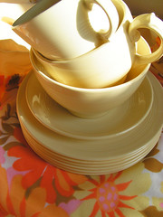 crazy carboot finds! (pipnstuff) Tags: china flowers english cup yellow vintage design pattern jasmine hippy free bowl fabric plates teacup sixties carboot thift woodsware