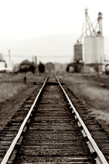 "A Rural ""Bokeh"" (Fort Photo) Tags: bw sepia rural landscape vanishingpoint nikon colorado dof searchthebest bokeh trains co traintrack 2007 converginglines kersey outstandingshots abigfave diamondclassphotographer flickrdiamond"
