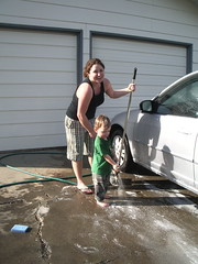 Kim & Judah washing the car 3/24/07