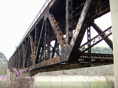 Train bridge (Crack a Spine) Tags: lake lines metal architecture vanishingpoint scaffolding kentucky rustic transport perspective bridges rusty trains vacant ghosts aged brace zigzag connection trainbridge standbyme onward