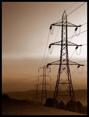 (andrewlee1967) Tags: pylons sepia cheshire andrewlee1967 uk andylee1967 canon400d england landscape mono bw blackandwhite monochrome focusman5 andrewlee
