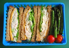 Sandwich and asparagus lunch
