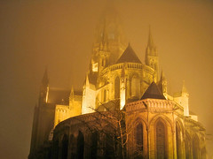 Bayeux Cathedral on a foggy night (Jason's Travel Photography) Tags: orange france church colors fog night bravo explore normandy soe bayeux blueribbonwinner magicdonkey beautyisintheeyeofthebeholder flickrsbest mywinners abigfave shieldofexcellence anawesomeshot diamondclassphotographer jasonstravel
