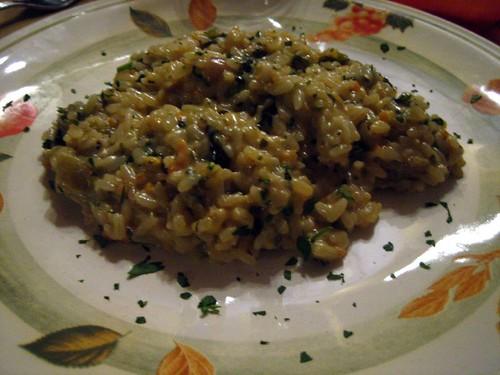 Risotto alla lattuga, ortica, e gorgonzola