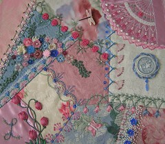 Completed Encrusted Block (Lin Moon) Tags: embroidery cq crazyquilt encrusted crazyquilting sre silkribbonembroidery