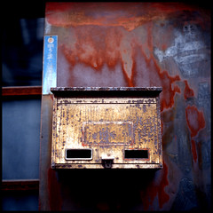 Rusty post (mechanics) Tags: city urban 120 6x6 tlr film japan rollei rolleiflex mediumformat square tokyo rust asia post kodak  nippon  e100vs f28 nihon kanto mechanics koto planar urbanlife 80mm kotoku 28fx