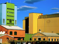 Lots of color (Georgios Karamanis) Tags: door blue windows sky orange tree green cars yellow clouds buildings sweden uppsala sverige explored karamanis