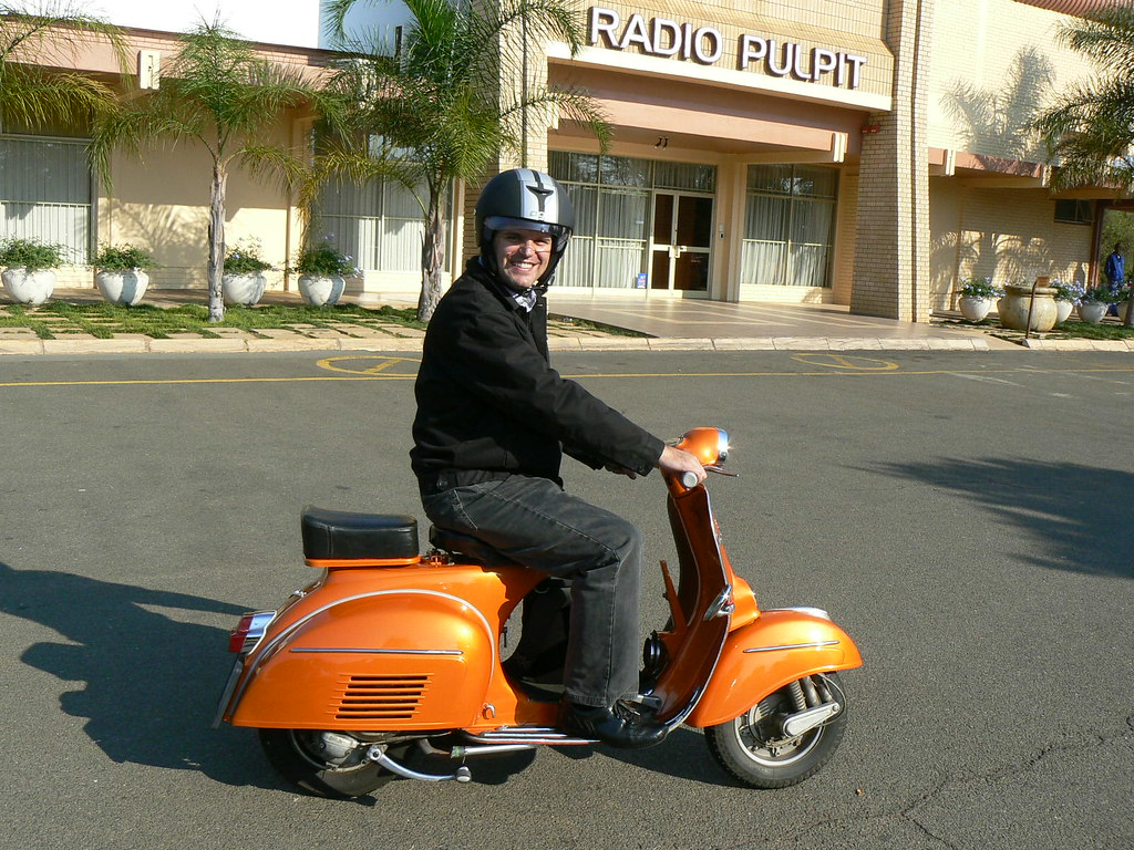 Me on the 'Orange bomber', my 1968 Orange VLB Vespa Sprint
