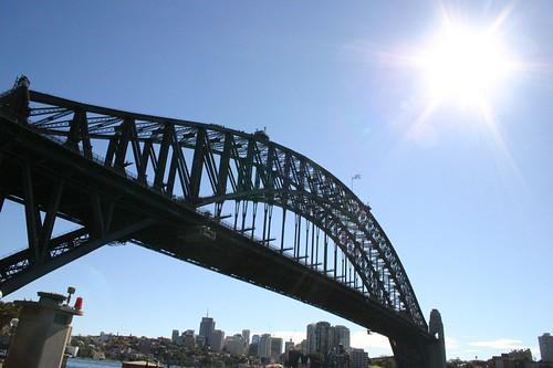 Harbour Bridge in the sunlight.