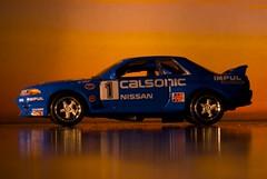 Nissan Calsonic Skyline 1991 (Joshishi) Tags: auto sunset car skyline race racecar toy japanese nissan turbo 1991 awd impul 105mmf28dmicro calsonic