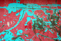 Paintoglyph (gripspix (OFF)) Tags: 20161208 decay vergänglichkeit evanescence tin blech metal metall cracks risse tectonics tektonik zufall bychance container old alt paint farbe peeling abblätternd red turqouise rot türkis rost rust scatsches kratzer texture textur