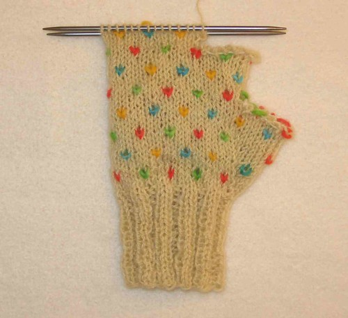 Thrummed mitten in progress