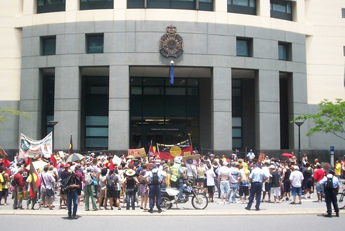 Audience outside Qld Police HQ, Roma St - Invasion Day Rally and March, Brisbane, Queensland, Australia 070126-1