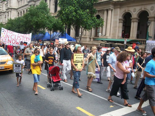March passes cnr of George St and Queen St Mall - Invasion Day Rally and March, Brisbane, Queensland, Australia 070126-3