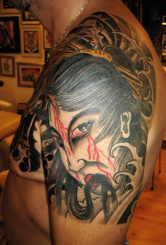 Japanese Tattoo, Geisha Tattoo, Shoulder Tattoo, Japanese Shoulder Tattoos, Japanese Geisha Tattoos, Shoulder Geisha Tattoos