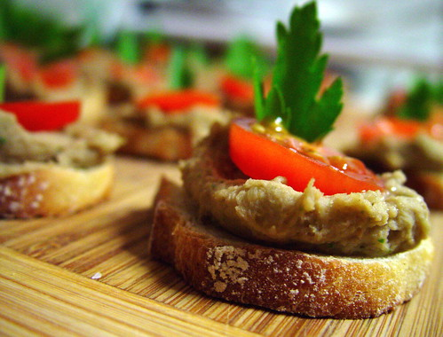 Roasted Chestnut and Lentil Pate on Crostini