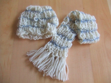 White - Blue Scarf & Hat