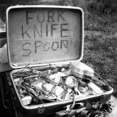 Fork Knife Spoon (deatonstreet) Tags: ohio bw white black 120 square holga market knife fork spoon rogers flea suitcase treasurechest