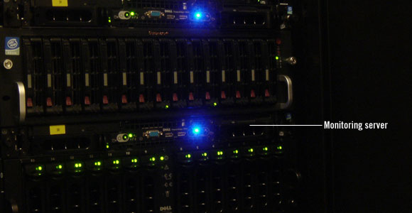 Pingdom monitoring server resting securely in its rack.