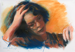 Think Orange (HagitSha) Tags: people selfportrait art me colors portraits painting paper women paintings oilpainting     yourmasterpaintings