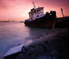 [ POSIDON ] OF THE EAST (| HD |) Tags: sunset seascape 20d abandoned port canon landscape boat ship hd kuwait forsaken wreck darwish hamad cokin posidon aldoha