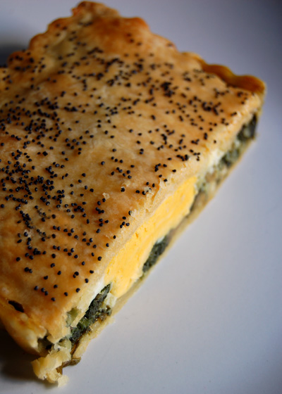 slice of spinach and egg pie©