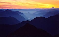 Fraser Valley Sunset (justb) Tags: sunset mist mountains colour fog river landscape hope smog scenery glow valley layers colourful fraser chilliwack blueribbonwinner tulameen impressedbeauty