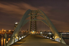 Humber River Pedestrian Bridge - HDR (Gregory Pleau) Tags: city longexposure bridge winter toronto ontario canada water night river lights waterfront structure walkway hdr humber waterfronttrail rivermouth transcanadatrail gregorypleau